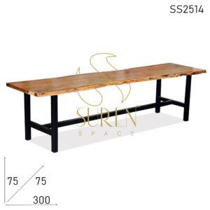 SS2514 Suren Space Live Edge Acacia Wood Solid Metal Frame Long Dining Table