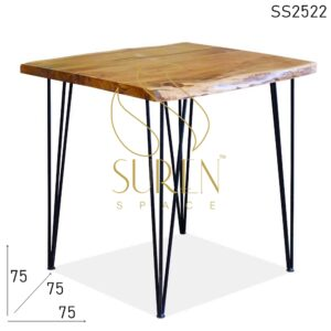 SS2522 Suren Space Live Edge Acacia Wood Folding Metal Hair Pin Bistro Cafe Table
