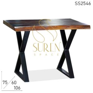 SS2546 Suren Space Cross Leg Live Edge Solid Wood Farm House Look Table