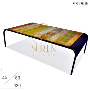 SS2805 Suren Space Reclaimed Wood Metal Frame Center Coffee Table