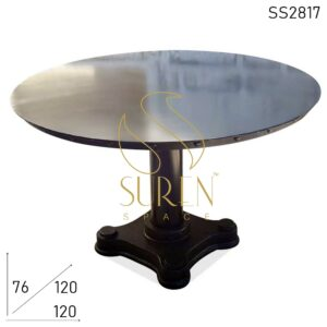 SS2817 Suren Space Heavy Metal Cast Iron Base Folding Outdoor All-Weather Round Table