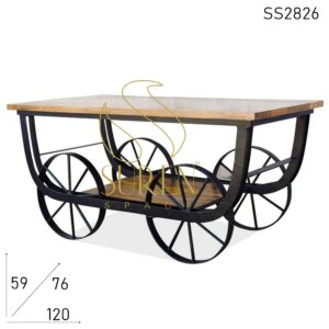 SS2826 Suren Space Iron Wheel Solid Wood Movable Coffee Center Table