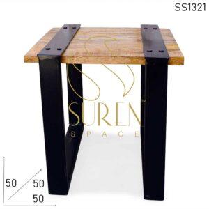 SS1321 Suren Space Metal Base Rough Solid Mango Wood Industrial Bedroom Side Table