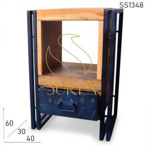 SS1348 Suren Space Metal Industrial Reclaimed Wood Bedside Table