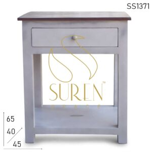 SS1371 Suren Space Solid Mango Wood Painted Modern Design Bedside