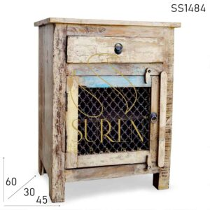 SS1484 Suren Space Traditional Metal Jali Word Indian Style Reclaimed Bedside