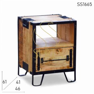 SS1665 Suren Space Metal Industrial Solid Indian Wood Bedside Design
