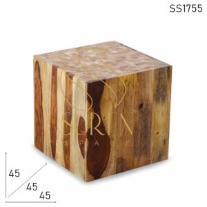 SS1755 Suren Space Solid Grain Wood Hollow Design Side Table Cum Stool