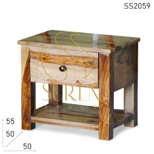 SS2059 Suren Space Carved Solid Indian Wood Simple Camp Tent Bedside