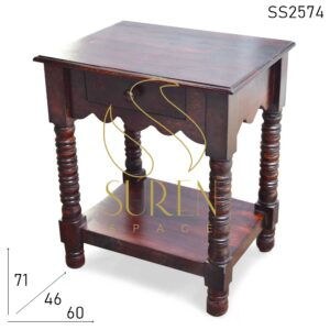 SS2574 Suren Space Hand Carved Solid Wood Mahogany Shade Side Table