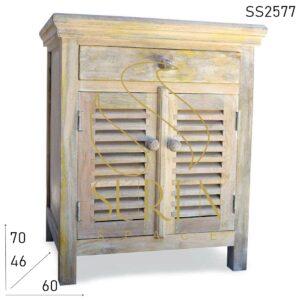 SS2577 Suren Space Whitewash Solid Wood Modern Bedroom Side Table