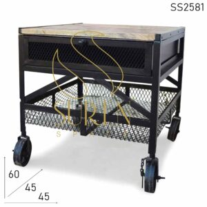 SS2581 Suren Space Iron Mesh Work Black Finish Industrial Side Table