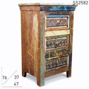 SS2582 Suren Space Carved Design Recycled Indian Wood Bedside