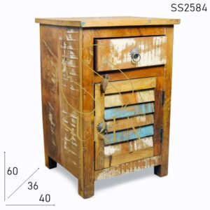 SS2584 Suren Space Unique Colored Window Doors Old Wood Bedside Furniture