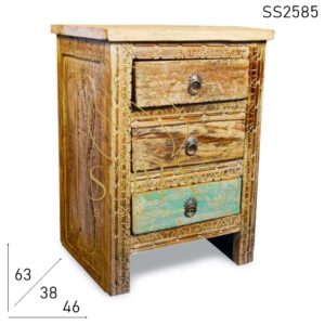 SS2585 Suren Space Whitewash Distress Carved Three Drawer Reclaimed Bedside