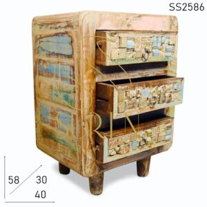 SS2586 Suren Space Carved Patchwork Old Wood Three Drawer Side Table