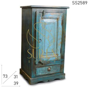 SS2589 Suren Space One of Kind Old Wood Dark Blue Night Stand